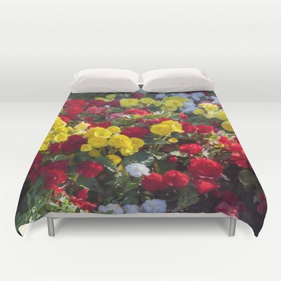 Begonia, tuberous, flowers, duvet, cover, red, yellow, white