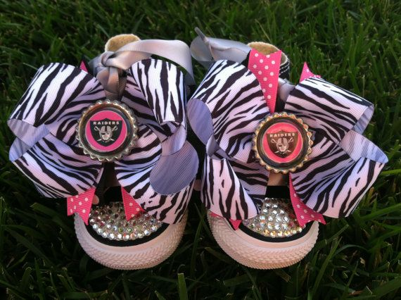 OAKLAND RAIDERS Shoes  Oakland Raiders Bow  by SparkleToes3, $75.00
