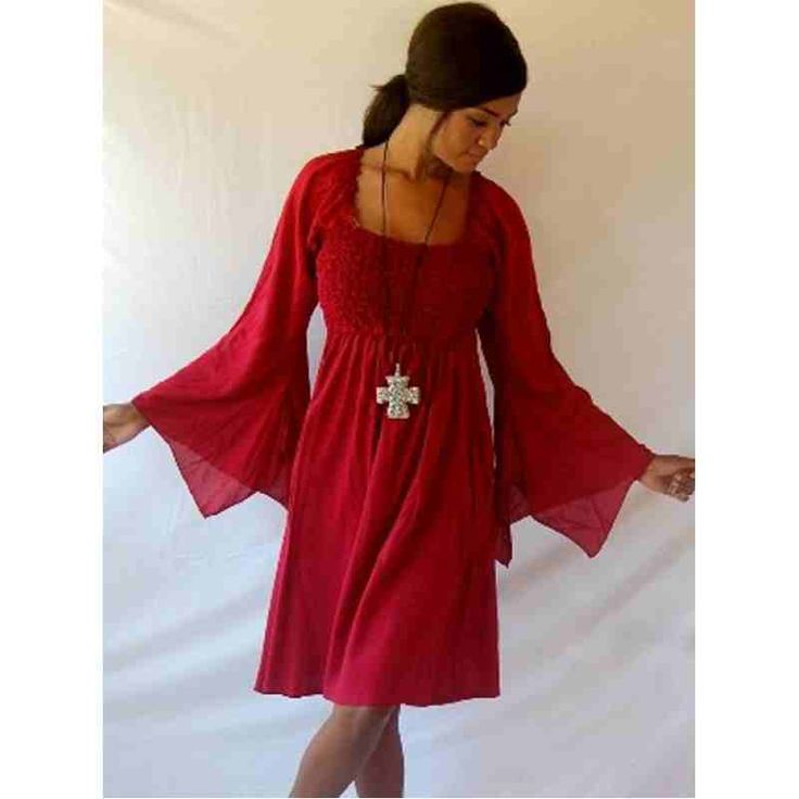 PRE-ORDER - Stunning Smocked Mini Dress Tunic Top with Sleeve Falls (Maroon Red) $64.00 http://www.curvyclothing.com.au/index.php?route=product/product&path=95_97&product_id=9283