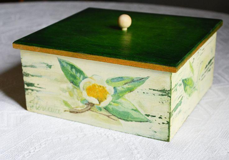 pudełko na herbatę - Kwiatki Pani Miłki - Srebrna Agrafka