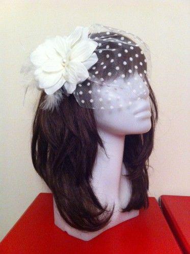 Nikah Şapkası, Kırık Beyaz Çiçekli, Puantiyeli Tüllü | Hepsi Ev Yapımı