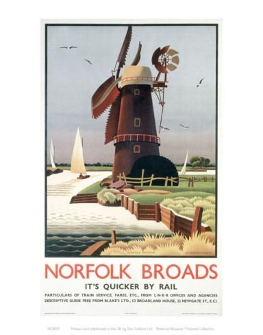 Vintage Travel Poster - UK - Norfolk Broads - Railway