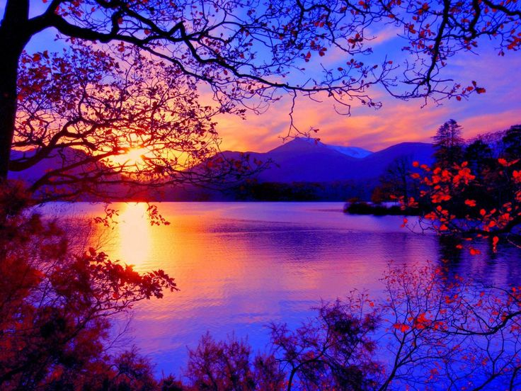 Autumn Landscape With A Sunset Wallpapers