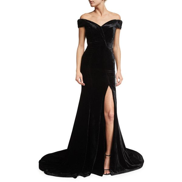 Rachel Gilbert Velvet Off-Shoulder Gown ($2,295) ❤ liked on Polyvore featuring dresses, gowns, black, women's apparel dresses, velvet evening gown, slit gown, cap sleeve evening gown, off shoulder dress and draped gown