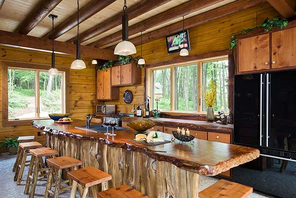 Hickory Cabinets With Slab Wood Counter Tops Pic Wood