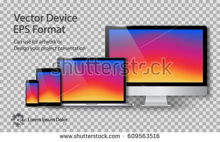 Realistic Computer Monitor, Laptop, Tablet and Smart Phone with Instagram Screen Isolated on Transparent Background. Can Use for Template Project Presentation. Electronic Gadget, Device Mockup Set.
