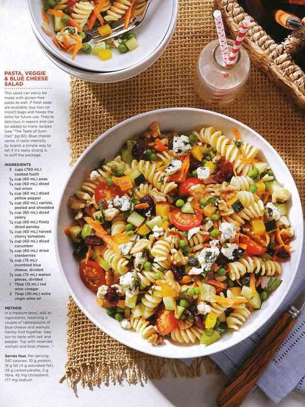 Best Health Summer 2013. Pasta Veggie And Blue Cheese Salad. Food Styling courtesy of Heather Shaw, Judy Inc. Photography, Maya Visnyei. #salad #healthy #delicious #recipe #saladrecipe #vegetables #bluecheese #pasta #summer #eats #creative