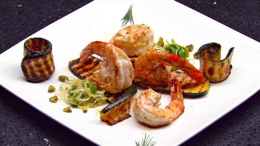Prawns with chargrilled zucchini and leek and olive salad | MasterChef Australia