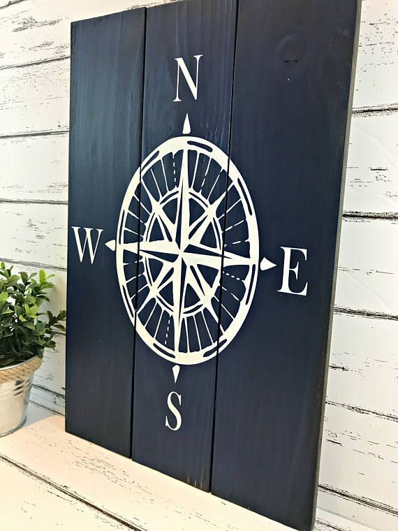 Compass Rose Nautical Compass Sign Nautical Decor Beach