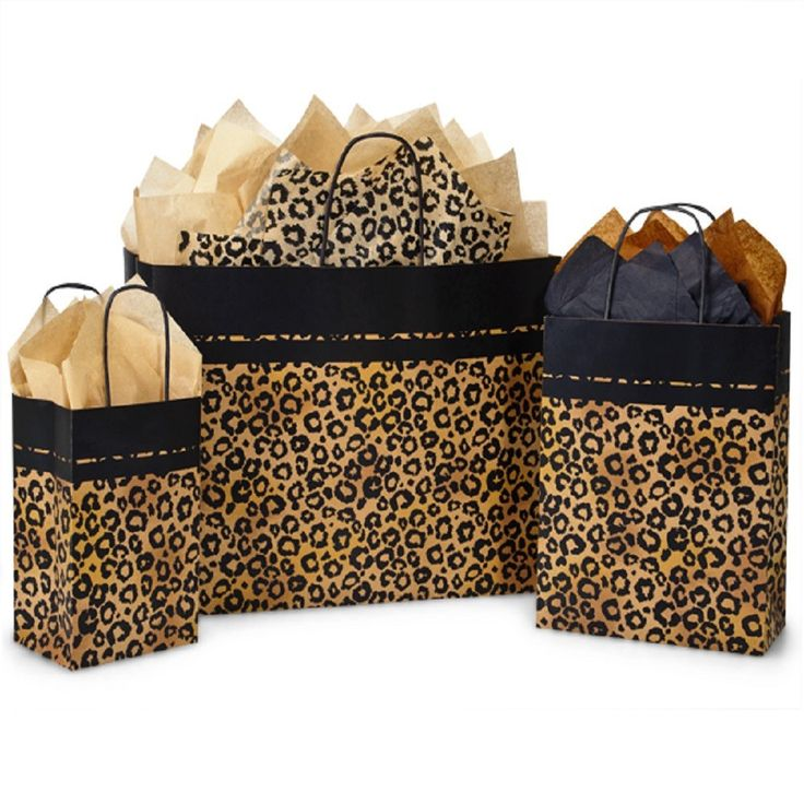 Paper Shopping Bags Leopard Safari - with Black Paper Twist Handles
