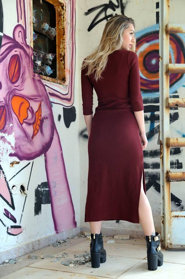 Burgundy Ribbed Midi Dress. From 2̶5̶,̶€̶ now only 20€ bit.ly/1IBqPPh