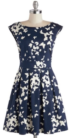 sweet butterfly print fit and flare dress