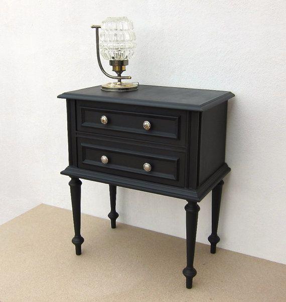 VINTAGE Side Table, RESTORED; Black bedside table; Vintage nightstand