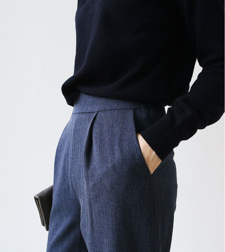 Tucked-in relaxed sweater, waistline, tweedy trousers, navy + blue