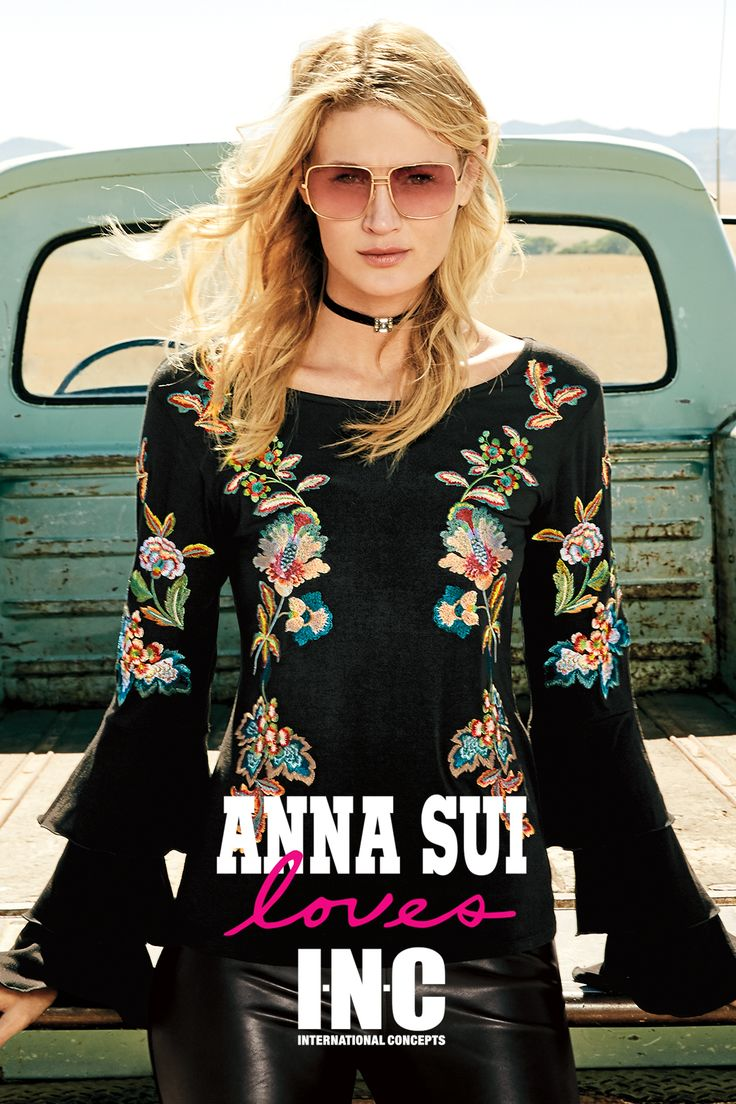 Floral embroidery is in for fall. This black bell sleeved top paired with leather leggings and choker is one of Anna Sui's favorite outfits from the fall collection from INC. Shop the look, created for Macy's.