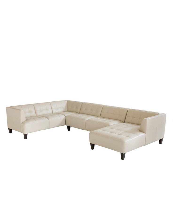 Alessia leather sectional sofa 3 piece 139 w x 89 d x 28 for Alessia leather chaise