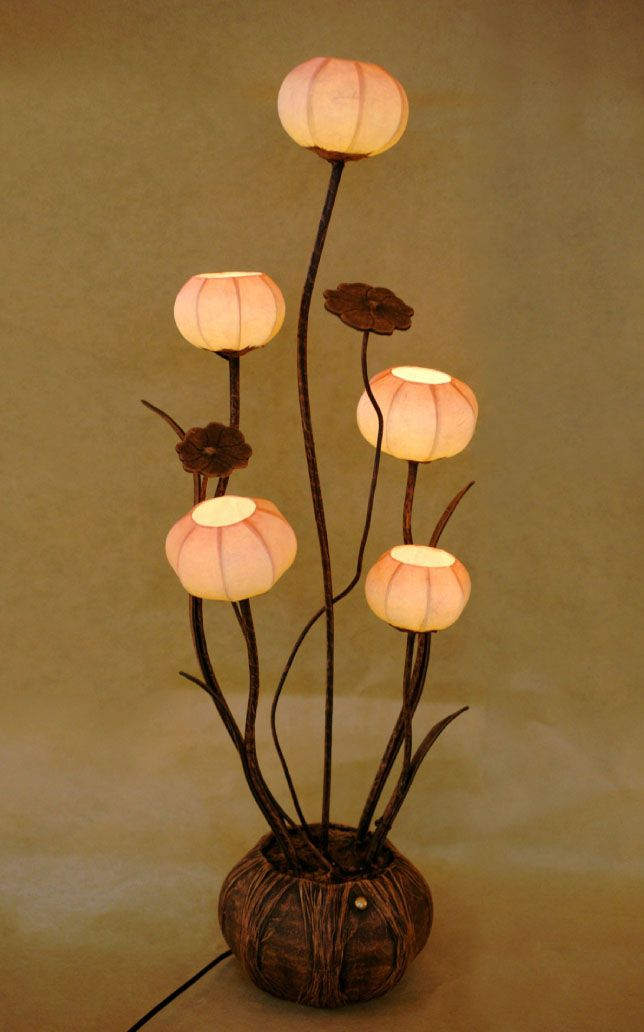 Paper Floor #lampshade  Shades with Five Flower Bud Lantern Lights