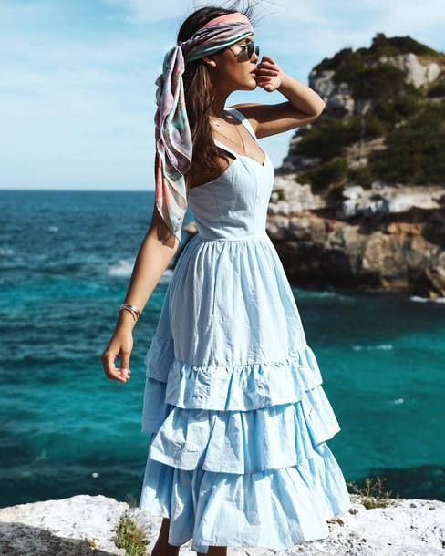$59 H&M Boho Style Light Pastel Blue Strappy Cami Rah-Rah Style Ruffled Detail Midi Dress Teamed With A Multicoloured Tie Dye Head Scarf Tumblr