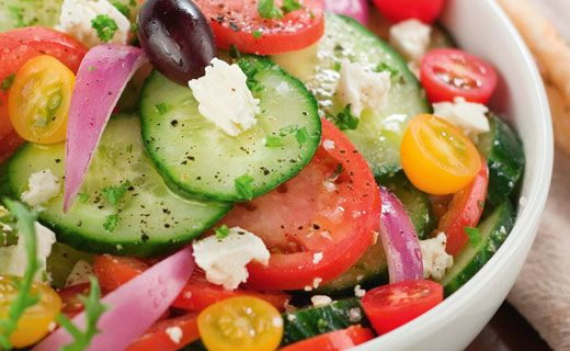 Lunch/Dinner: Classic Greek Salad (130 calories/serving) serve with grilled chicken and small pita