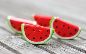 Repeat Crafter Me: DIY Watermelon Buttons with Polymer Clay