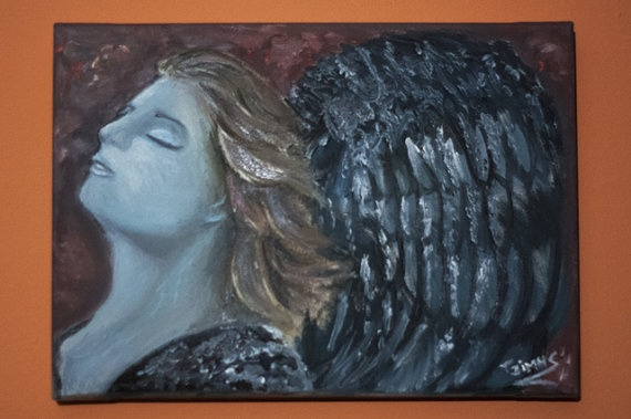Angel with oils on canvas traditional art by Jimmis by JimmisArt, €50.00