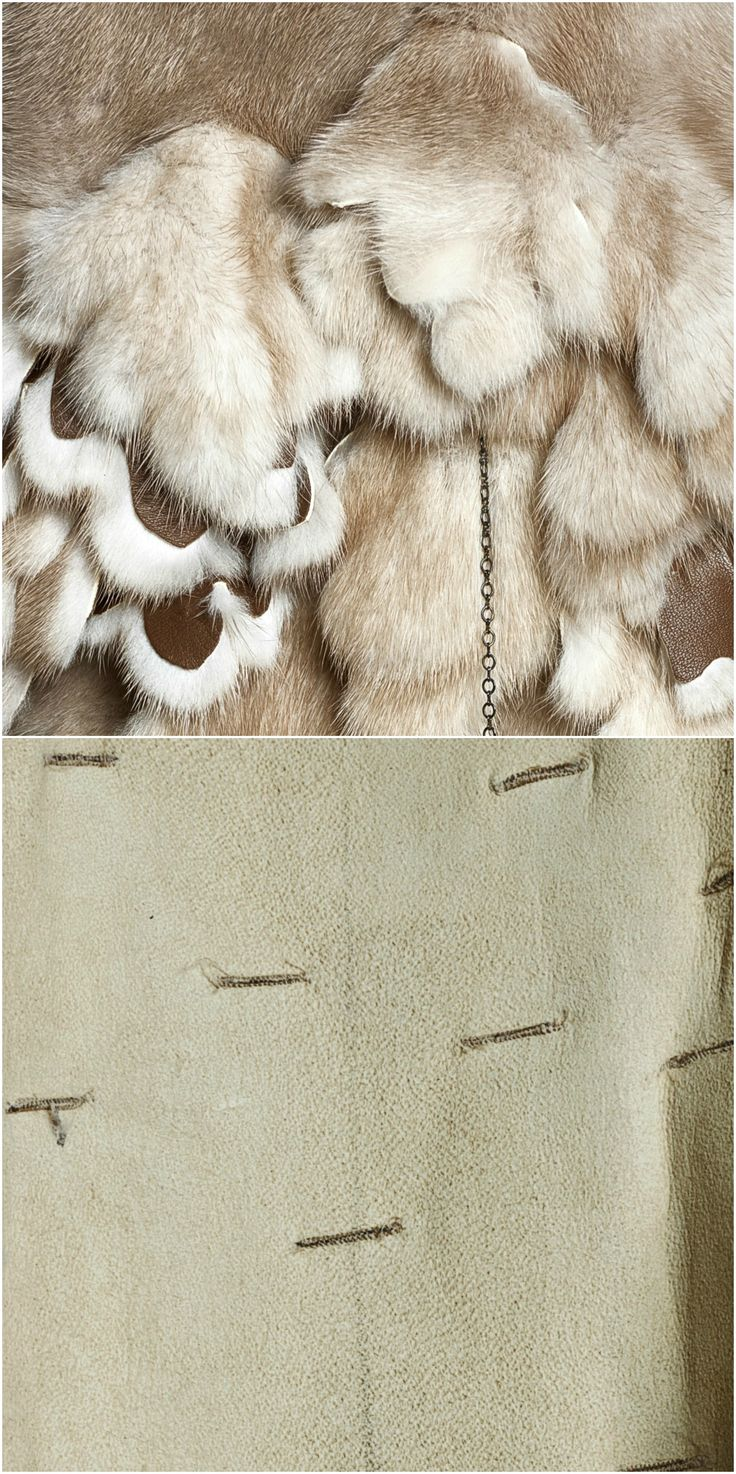 Floral cutouts with backside leather treatment attacted to fur by cutting slits and sewn together on fur-maschine.