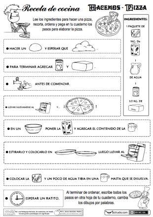 tres estupendas fichas para trabajar distintos contenidos del lenguaje a través de recetas de cocina.