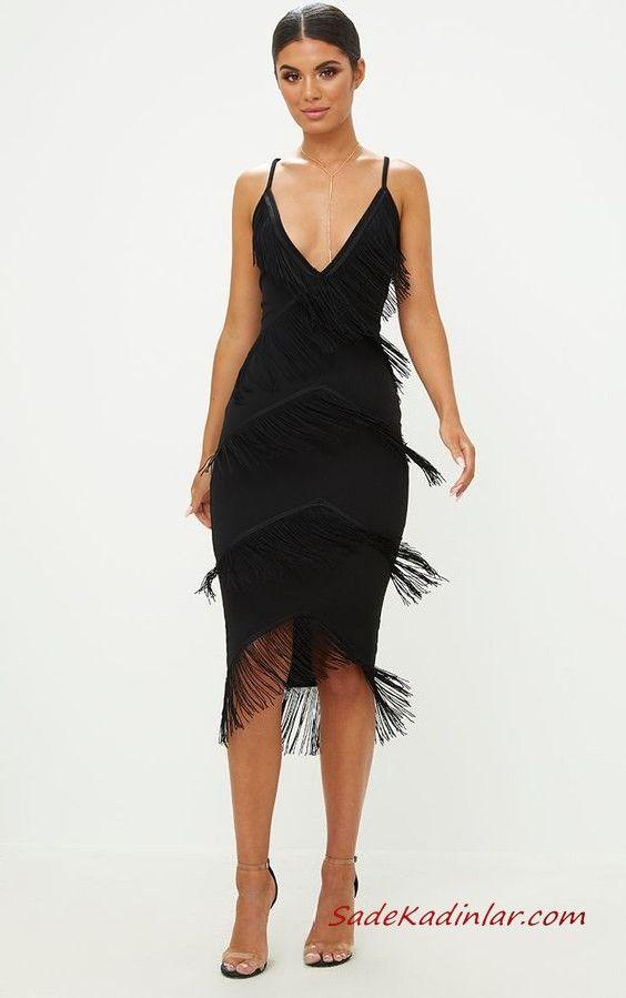 2020 Puskullu Elbise Modelleri Siyah Midi Ip Askili Derin V Yakali Puskullu The Dress Moda Stilleri Elbise Modelleri