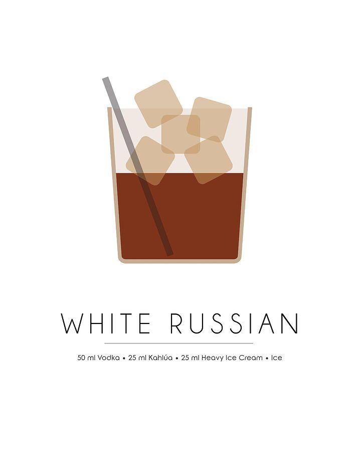 White Russian Classic Cocktail Minimalist Print Mixed Media by Studio Grafiikka