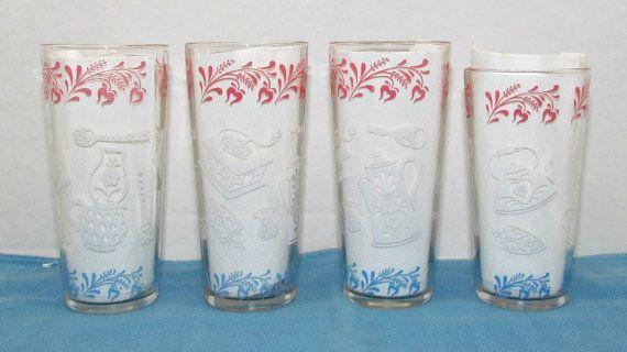 Vintage Hazel Atlas Kitchen Aids Tumblers, Pink Blue White Drinking Glasses, Beverage Ware, Shabby Cottage Chic Deor