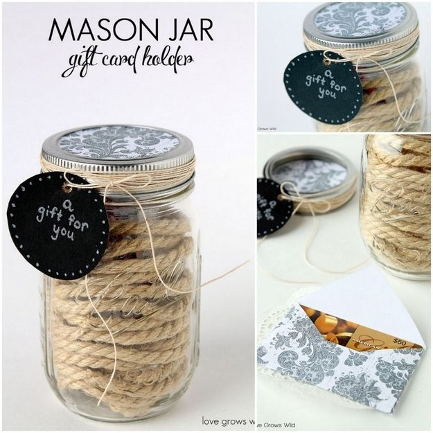Mason Jar Holder   24 Cute And Clever Ways To Give A Gift Card
