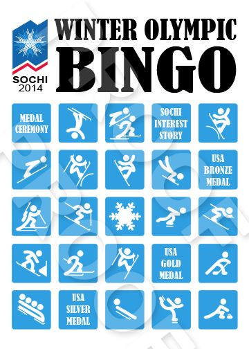 Sochi Winter Olympic Bingo Game