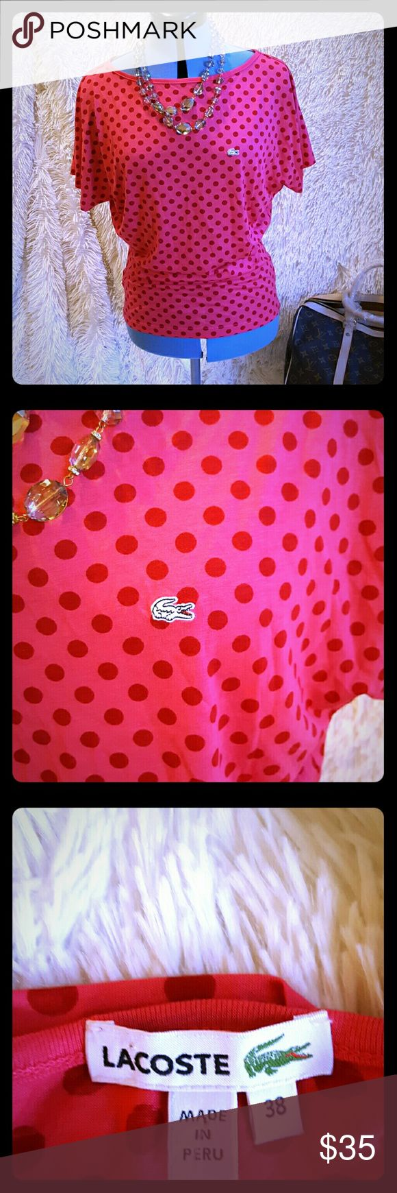 *Lacoste* pink and red polka dot shirt 38 small This darling Lacoste shirt is nwot!  It's very soft and the colors pop. Size 38=small  Pink with red polka dots  Comes from smoke free home!  * Don't forget to check out my other designer items for sale and make me some offers* Lacoste Tops