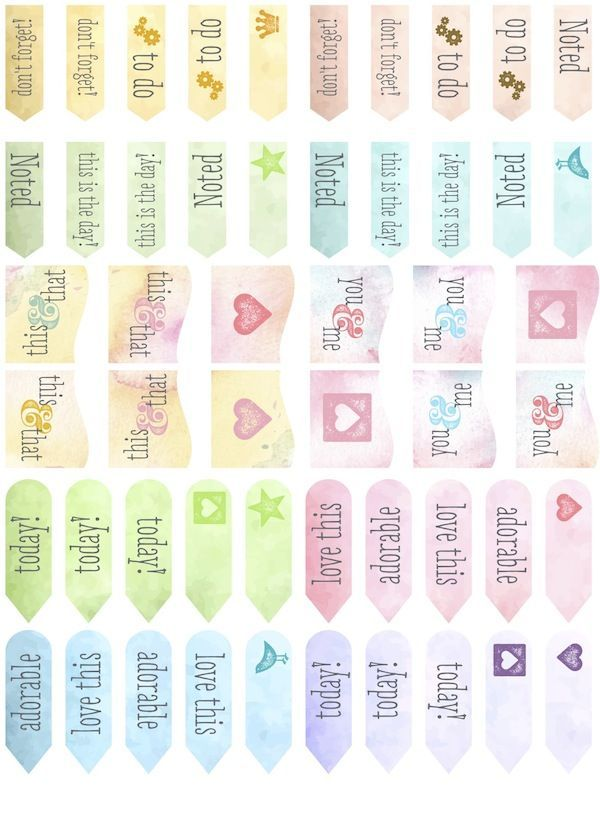Free Watercolor Planner Tabs from scrappystickyinkymess {blank version also available}