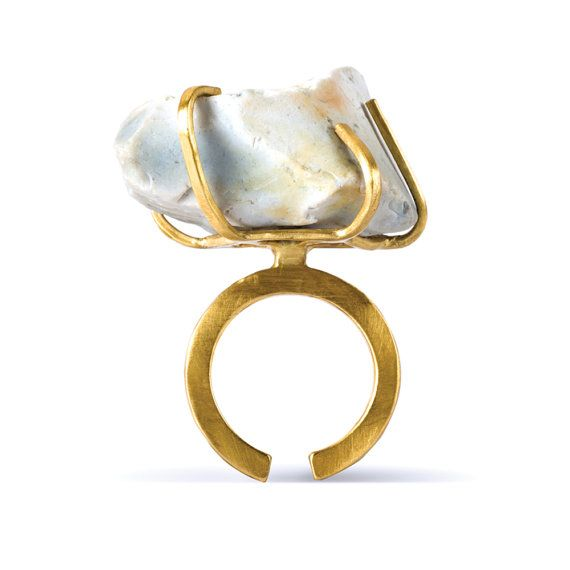 """Saloukee Jewellery (UK), Lost & Found collection, """"Etta"""" flint rock ring in 22k gold plated 100% recycled brass. #uk   peculiarjewelry.com x etsy"""