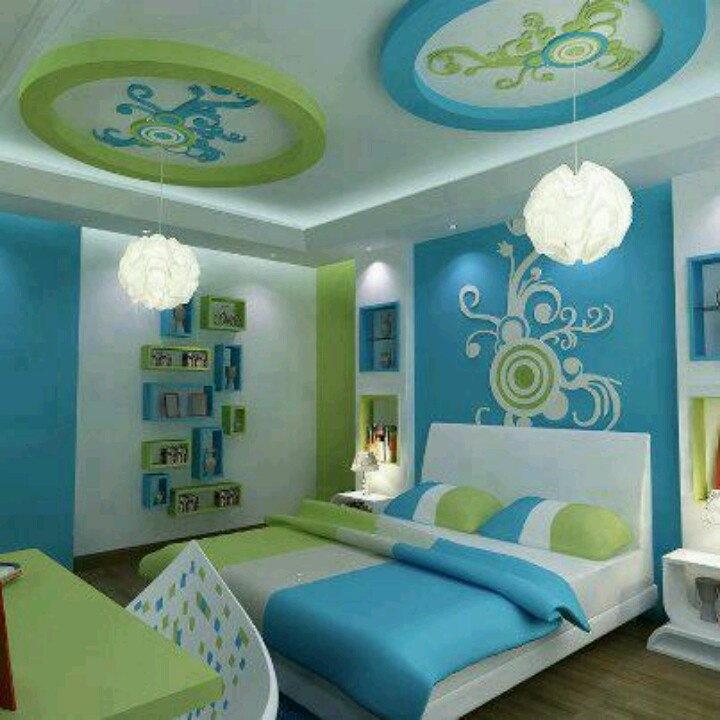 Blue and green bedroom bedrooms pinterest green for Bright green bedroom ideas