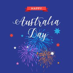Happy Australia Day 26th January poster with fireworks, stars and ribbon. Holiday vector illustration. For Advertising, Traveling, Promotion, Celebration.