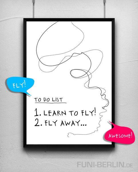"""FLY""   typo poster   size L von FUNI BERLIN auf DaWanda.com"