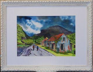The Art of Phil Davis: Derelict Cottages, Gap of Dunloe.Ink pigment on wa...
