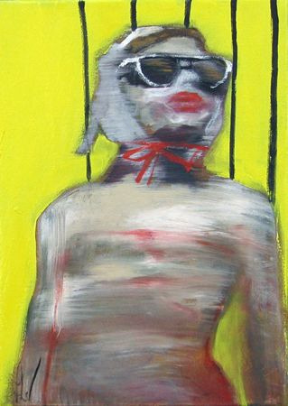 Esther Erlich  Swelter 1 - 2013  Acrylic on canvas  36 x 25 cm