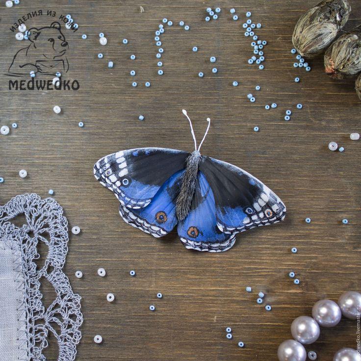 Купить Брошь из кожи Бабочка Blue Pansy - бабочка, брошь, брошь бабочка, купить брошь