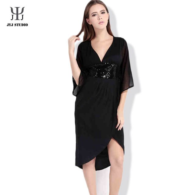 Summer Casual Loose Plus Size XS-XXL Dress Half pagoda sleeve V-neck Polyester Pure Color Black Sexy One-piece Net yarn Dress