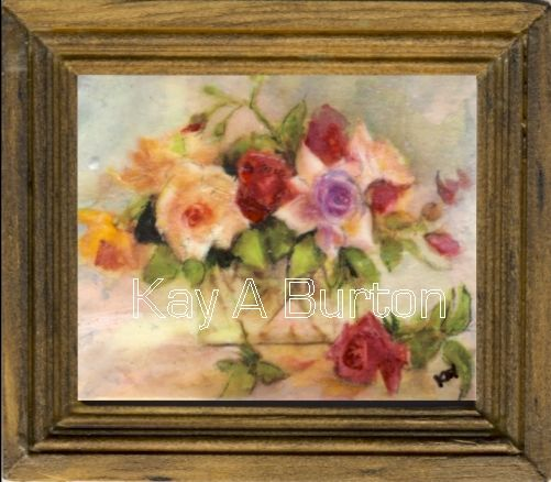 A miniature still life depicting a bouquet of mixed coloured roses in a square glass vase.    Would look very nice in a Victorian setting.   Approx. 52mm x 60mm (2 1/16