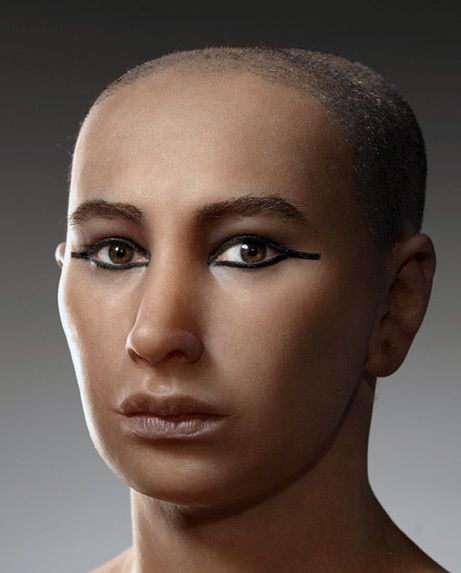 "Is this the true face of Tut? This silicone-skinned bust is billed as the most accurate forensic reconstruction ever of ancient Egypt's Pharaoh Tutankhamun. It was based on recent 3-D CT scans of the mummy of the ""boy king,"" who is believed to have been about 19 when he died some 3,300 years ago."