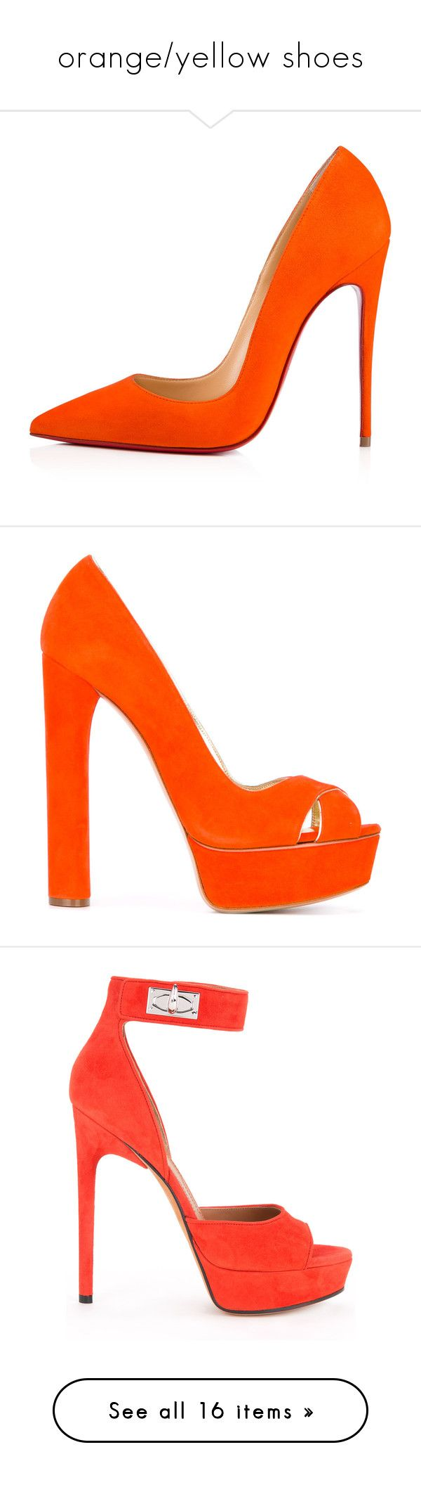 """orange/yellow shoes"" by mrstomlinson974 on Polyvore featuring shoes, heels, christian louboutin shoes, christian louboutin, pumps, platform shoes, orange pumps, leather peep toe pumps, casadei pumps and high heel platform shoes"