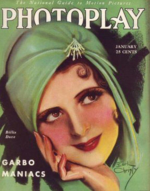 "Billie Dove on the front cover of ""Photoplay"" magazine, USA, January 1929.Earl Christy."
