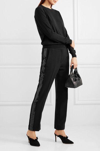 Crêpe À Sequins Pantalon Jambe Droite - Victoria Beckham Noir tPOkjR