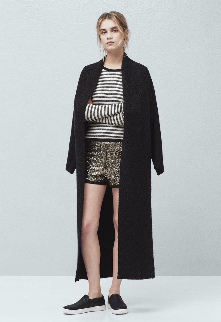 Jacheta lunga neagra tricotata Kira - MANGO