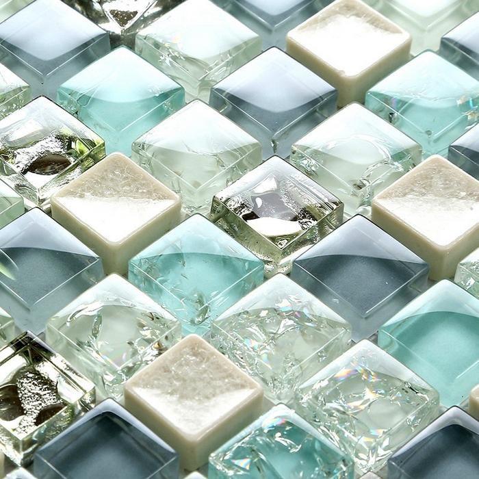 Mini 15 15mm Blue Color Crystal Glass Mosaic Tiles For Bathroom
