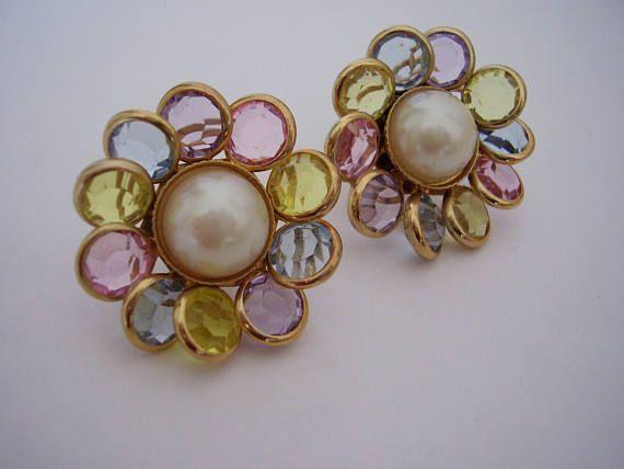 Bezel Earrings Pastel Acrylic Faceted Discs signed Avon O.S